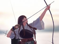 1girl akagi_(kantai_collection) arrow blurry bow_(weapon) brown_eyes brown_hair cloud commentary_request cropped depth_of_field derivative_work drawing_bow flight_deck gloves hakama japanese_clothes kantai_collection long_hair looking_up muneate ocean partly_fingerless_gloves quiver red_hakama rigging sidelocks single_glove sketch sky smile solo tasuki weapon wide_sleeves yue_(tada_no_saboten) yugake yumi_(bow)