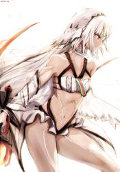 1girl altera_(fate) bandeau bangs bare_shoulders blunt_bangs breasts choker collarbone cowboy_shot dark_skin detached_sleeves dyolf fate/extella fate/extra fate/grand_order fate_(series) from_side holding holding_sword holding_weapon long_sleeves looking_away navel parted_lips profile red_eyes revealing_clothes short_hair silver_hair small_breasts solo stomach sword thighs veil weapon