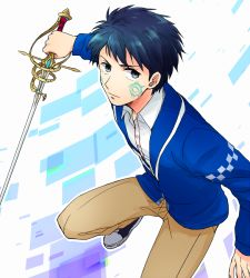 1boy 31sgic aoi_itsuki black_eyes blue_hair facial_mark gen'ei_ibunroku_sharp_fe male_focus solo sword weapon