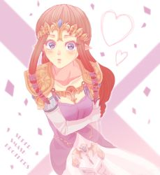 1girl artist_request blue_eyes blush brown_hair collarbone dress elbow_gloves gloves hair_ornament heart jewelry looking_at_viewer open_mouth pointy_ears princess_zelda shoulder_pads solo super_smash_bros. the_legend_of_zelda tiara twilight_princess white_gloves