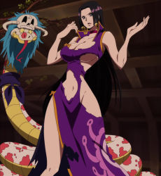 1girl black_hair blue_eyes boa_hancock breasts cleavage curvy large_breasts long_hair one_piece salome snake tame torn_clothes underboob