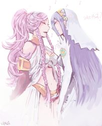 2girls aqua_(fire_emblem_if) artist_name bare_shoulders blue_hair braid commentary elbow_gloves english eyes_closed fire_emblem fire_emblem:_kakusei fire_emblem_if gloves hairband high_ponytail highres long_hair midriff multiple_girls music musical_note navel olivia_(fire_emblem) open_mouth pink_hair ponytail quaver see-through side_braid signature simple_background singing smile text twin_braids very_long_hair vuroi white_background white_gloves yuri