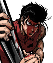 1boy baseball_bat black_hair blood blood_on_face bloody_weapon holding holding_weapon injury kinzoku_bat looking_at_viewer male_focus metal_bat one-punch_man pompadour simple_background sleeveless solo torn_clothes turtleneck upper_body weapon white_background you_(wsynkk)