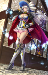 1girl boots breasts building cape cleavage dutch_angle feathers frilled_skirt frills gyakushuu_no_fantasica hat high_heel_boots high_heels highres outdoors puffy_sleeves rapier ryuki@maguro-ex sheath sheathed silver_hair skirt solo sword weapon wind