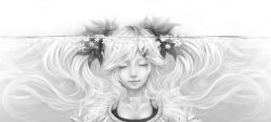 1girl absurdres bouno_satoshi eyes_closed flower hatsune_miku highres lips long_hair monochrome realistic solo twintails underwater vocaloid