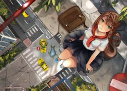 1girl black_skirt blue_shoes brown_hair commentary from_above green_eyes larienne lips long_hair long_skirt looking_at_viewer original pleated_skirt post-apocalypse revision school_uniform shoes skirt solo star taxi