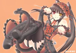 1girl animal_ears ass bare_shoulders black_hair boots breasts cat_ears cat_tail cleavage clenched_teeth clock_eyes date_a_live dress gothic_lolita heterochromia lolita_fashion lolita_hairband long_hair lying maid_headdress on_back red_eyes ribbon smile solo tail thighhighs tokisaki_kurumi twintails yellow_eyes