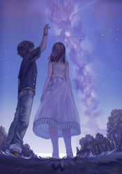 1boy 1girl arm_up arms_at_sides bare_arms bare_shoulders belt black_hair bracelet brown_hair denim dress from_behind from_below full_body grass hetero jeans jewelry looking_up milky_way nanokakan_no_yuurei_youka-me_no_kanojo night night_sky outdoors pants sandals see-through see-through_silhouette shirt shooting_star sime_(echo) sky sleeveless sleeveless_dress standing star_(sky) starry_sky striped sundress tree vertical_stripes white_dress wristband