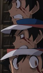 1boy baseball_cap black_hair blood bloody_tears bookshelf brown_eyes clenched_teeth close-up commentary constricted_pupils face fake_screenshot fullmetal_alchemist hat highres indoors looking_back mgx0 parody pokemon pokemon_(anime) satoshi_(pokemon) short_hair teeth