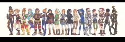 6+boys aco_co0 alternate_costume armor bandanna bodysuit boots brown_hair copyright_name crossdressing dark_link gerudo_link hair_ornament headband headdress helmet highres horned_headwear link mask midriff multiple_boys multiple_persona navel pointy_ears scarf side-by-side sword tattoo the_legend_of_zelda the_legend_of_zelda:_breath_of_the_wild trap veil weapon