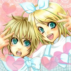 1boy 1girl blonde_hair blue_eyes bow brother_and_sister kagamine_len kagamine_rin open_mouth plaid smile suzuagi twins v vocaloid white_ribbon