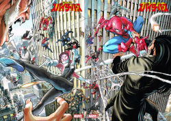 3girls aircraft battle black_hair building cindy_moon cityscape company_name copyright_name crossover epic face_mask fangs helicopter long_hair marvel mask missile multiple_boys multiple_girls multiple_persona murata_yuusuke official_art sabretooth silk silk_(marvel) spider-girl spider-gwen spider-man spider-man_(series) spider-woman spider_web superhero