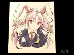 1girl animal_ears blazer bunny_ears bust crescent flower formal long_hair marker_(medium) necktie pink_hair red_eyes reisen_udongein_inaba smile solo touhou traditional_media tsubameyado