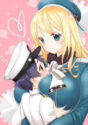 1girl age_difference atago_(kantai_collection) between_breasts black_hair blonde_hair blue_eyes blush breast_grab breast_smother breasts brown_eyes hat hetero highres hug huge_breasts kantai_collection large_breasts long_hair military military_uniform open_mouth shibi shota shota_admiral_(kantai_collection) smile straight_shota uniform