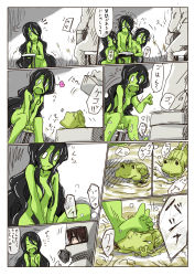 1boy 2girls black_hair box comic epiphany_trebuchet frog glasses green_skin hazmat_suit heart highres hokuouran long_hair multiple_girls nude partially_translated scp-811 scp_foundation spoken_heart translation_request water