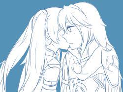 2girls blush fire_emblem fire_emblem:_kakusei long_hair lucina multiple_girl multiple_girls nintendo serena_(fire_emblem) twintails yuri