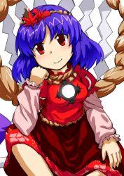 1girl chin_rest dai-erie indian_style purple_hair red_eyes rope shimenawa short_hair sitting smile solo touhou yasaka_kanako