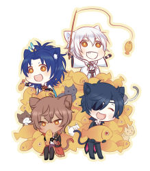 4boys :d ^_^ animal_ears black_gloves black_hair blue_hair brown_hair cat cat_ears cat_tail chibi dark_skin dark_skinned_male eyepatch eyes_closed feathers fish fishing_rod gloves grin hair_feathers japanese_clothes kemonomimi_mode male_focus multiple_boys omi_(0mim0) ookurikara open_mouth shokudaikiri_mitsutada sitting smile taikogane_sadamune tail too_many touken_ranbu tsurumaru_kuninaga white_hair yellow_eyes