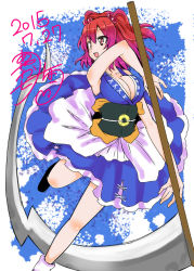 1girl ayakase_riberi breasts cleavage hair_bobbles hair_ornament japanese_clothes onozuka_komachi open_mouth red_eyes red_hair scythe solo touhou twintails