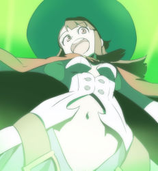 1girl breasts brown_hair from_below green green_background haruyama_kazunori hat kagari_atsuko little_witch_academia long_hair navel open_mouth red_eyes solo witch_hat