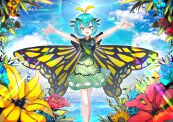 1girl :d antennae bangs blue_hair blue_rose blue_sky breasts butterfly_wings cloud cloudy_sky commentary_request dress etarnity_larva eyebrows_visible_through_hair fang flower green_dress hair_between_eyes hair_ornament hibiscus hidden_star_in_four_seasons hill hydrangea kusakanmuri leaf leaf_hair_ornament light_rays looking_at_viewer open_mouth outstretched_arms rainbow_gradient rose short_hair sky smile solo sparkle sun sunbeam sunflower sunlight touhou water wings yellow_eyes