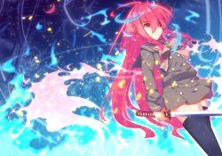 1girl highres long_hair nakadadaichi red_eyes red_hair school_uniform shakugan_no_shana shana sword thighhighs weapon