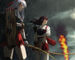 2girls akagi_(kantai_collection) blood bow_(weapon) brown_eyes brown_hair gloves hairband injury japanese_clothes kantai_collection long_hair multiple_girls muneate one_eye_closed rain shoukaku_(kantai_collection) silver_hair weapon yue_(yueanh)
