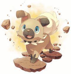 blue_eyes dog ears_down fang highres jippe no_humans pokemon pokemon_(creature) pokemon_(game) pokemon_sm rock rockruff