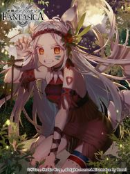1girl animal_ears armband bare_shoulders barefoot braid claws clenched_teeth facial_mark flower forest hair_flower hair_ornament jewelry long_hair looking_at_viewer miniskirt nature necklace paw_pose red_eyes rwael skirt solo tail teeth tree twin_braids white_hair