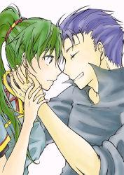 1boy 1girl blue_hair dress eyes_closed fire_emblem fire_emblem:_rekka_no_ken green_eyes green_hair hector lyndis_(fire_emblem) ponytail shirt smile