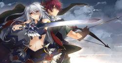 1boy 1girl arrow bow_(weapon) cape character_request ellenora_viltaria kazutake_hazano madan_no_ou_to_vanadis midriff sword weapon