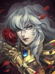 1boy androgynous armor flower full_armor male_focus mole moudoku_gorilla_gakuen petals pisces_aphrodite rose rose_petals saint_seiya solo