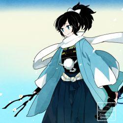 1boy artist_name black_hair bridal_gauntlets gradient_background hakama haori high_ponytail japanese_clothes l_hakase male_focus mole mole_under_eye shinsengumi solo touken_ranbu twitter_username yamato-no-kami_yasusada