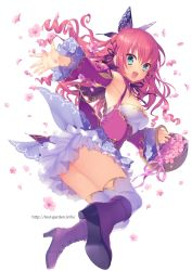 1girl :d basket black_ribbon boots breasts butterfly_hair_ornament detached_sleeves flower flower_basket from_side green_eyes hair_ornament hair_ribbon juliet_sleeves long_sleeves looking_at_viewer medium_breasts open_mouth original petals pink_ribbon puff_and_slash_sleeves puffy_sleeves purple_boots red_hair ribbon sakura_neko simple_background smile solo thighhighs thighs upskirt watermark web_address white_background