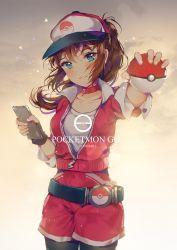 1girl baseball_cap cellphone dangmill female_protagonist_(pokemon_go) fingerless_gloves gloves hat long_hair phone poke_ball pokemon pokemon_go ponytail
