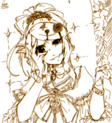 1girl aku_no_musume_(vocaloid) alternate_hairstyle bracelet commentary dated doblemjwn dress evil_grin evil_smile evillious_nendaiki flower frills grin hair_ornament hair_ribbon hairclip hand_on_own_face jewelry kagamine_rin looking_at_viewer monochrome petals ribbon rose sidelocks signature smile throne updo vocaloid