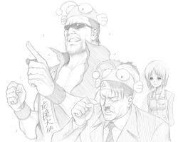 1girl 2boys adolf_hitler anger_vein angry animal_hat antennae arms_behind_back buttons clenched_hand collarbone collared_shirt dairoku_tenma empty_eyes facial_hair girls_und_panzer hat highres jacket long_sleeves military military_uniform monochrome multiple_boys mustache nazi necktie nishizumi_miho open_clothes open_jacket pocket pointing school_uniform shirt short_hair simple_background sunglasses translation_request uniform white_background world_war_ii wrinkles