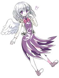 1girl bare_legs breasts covering_mouth dress full_body jacket kishin_sagume medium_breasts open_clothes open_jacket purple_dress purple_eyes rimei short_dress single_wing solo touhou white_hair wings