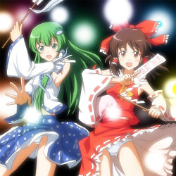 2girls ascot blush bow brown_eyes brown_hair detached_sleeves frog frog_hair_ornament gohei green_eyes green_hair hair_bow hair_ornament hair_ribbon hair_tubes hakurei_reimu holding japanese_clothes kochiya_sanae lielos long_hair looking_at_viewer miko multiple_girls ofuda open_mouth panties pantyshot pantyshot_(standing) ribbon short_hair skirt sleeveless sleeveless_shirt smile snake_hair_ornament standing touhou underwear white_panties wind_lift