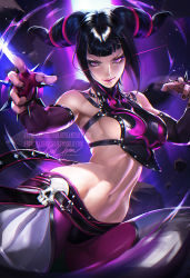 1girl absurdres black_hair breasts capcom drill_hair female female_only fighting_stance glowing han_juri highres large_breasts legs lipstick long_hair looking_at_viewer midriff nail_polish navel nipples open_clothes pink_eyes sakimichan sideboob signature solo spread_legs street_fighter street_fighter_iv thighs