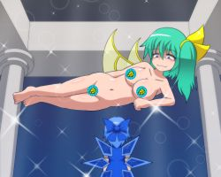 2girls areolae asheta7 blue_eyes blue_hair bow breasts censored cirno collarbone constricted_pupils daiyousei floating from_behind giantess gold_bar great_fairy great_fairy_(cosplay) green_eyes green_hair groin hair_bow hips ice ice_wings large_breasts looking_down looking_up md5_mismatch mound_of_venus multiple_girls navel nipples nude parody pillar shaded_face short_hair size_difference smirk sparkle the_legend_of_zelda touhou wings you_gonna_get_raped