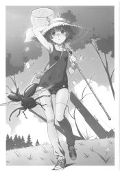 1girl absurdres arm_up armpits bandaid bandaid_on_knee bandaid_on_nose bracelet butterfly grass hand_net hat highres jewelry loose_thighhigh monochrome net ribbon school_swimsuit shoes stag_beetle straw_hat submarine swimsuit tennis_shoes thigh_gap thighhighs thighs tree watanabe_akio