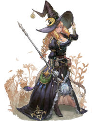 1girl belt book breasts bridal_gauntlets commentary crescent_moon dress drill_hair fantasy flower hair_ornament hand_on_own_head hat highres iwanai_tomoeju large_breasts moon pixiv_fantasia pixiv_fantasia_t pouch revision smile staff tri_tails vambraces witch witch_hat