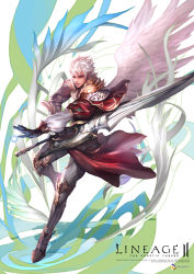 energy_ball highres jj_(yadz01) kamael lineage lineage_2 pointy_ears red_eyes sword weapon white_hair wings