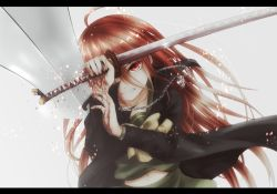 1girl ahoge blood cape clenched_teeth holding jewelry katana long_hair looking_at_viewer navel necklace nikuman_(kgntk) red_eyes red_hair school_uniform serafuku shakugan_no_shana shana simple_background solo sword weapon