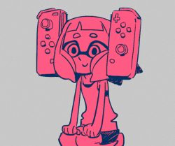 1girl alternate_hairstyle bangs blunt_bangs closed_mouth controller domino_mask female game_controller gamepad grey_background hands_on_own_knees inkling irima_(doron) mask monochrome nintendo nintendo_switch seiza short_eyebrows shorts simple_background sitting smile solo splatoon tank_top tentacle_hair