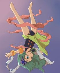 1girl barefoot final_fantasy final_fantasy_iv full_body green_eyes green_hair hair_ornament leotard long_hair rydia solo upside-down yucopi