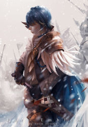 1boy alfonse_(fire_emblem) armor artist_name blonde_hair blood blue_hair cape copyright_name feathers fire_emblem fire_emblem_heroes gloves helmet highres injury mavis_fuji multicolored_hair polearm snowing solo spear sword two-tone_hair weapon