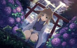 1girl after_rain aqua_eyes backlighting blonde_hair blurry buriterium bush cloud cloudy_sky depth_of_field flower frog frog_print from_below grass hair_ribbon hat hydrangea lens_flare light_rays long_sleeves looking_down moriya_suwako moss nature perspective purple_skirt ribbon short_hair skirt sky solo squatting sunlight thighs torii touhou tree turtleneck vest water waterfall wide_sleeves