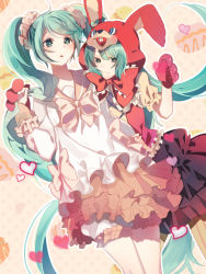 2girls animal_ears animal_hood blush bunny_ears bunny_hood collared_shirt dress dual_persona frilled_dress frilled_skirt frilled_sleeves frills gloves green_eyes green_hair hatsune_miku heart hood hoodie long_hair long_sleeves looking_at_viewer multiple_girls open_mouth red_gloves red_ribbon ribbon shirt short_sleeves skirt tatsumi3 twintails very_long_hair vocaloid